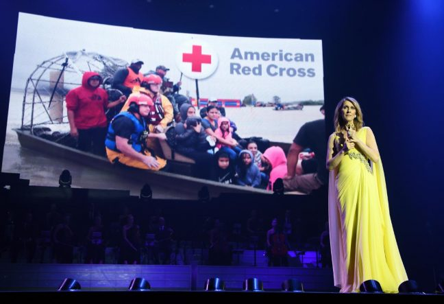Back in Las Vegas, Celine announced Hurricane Relief Collection
