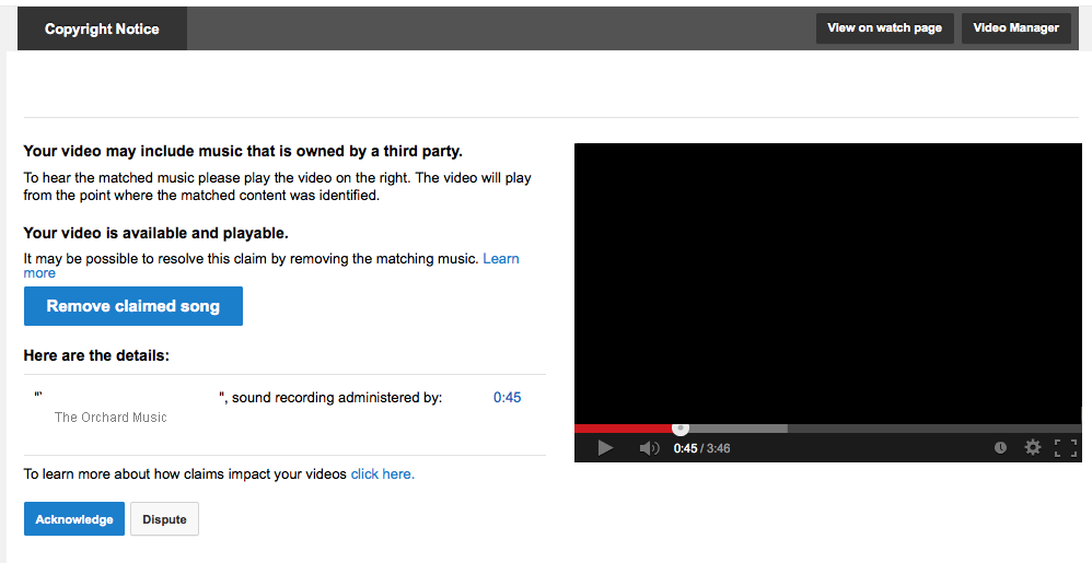 YouTube Copyright Claims - The Daily Rind