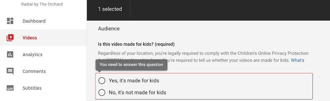 Prepare Your Channel For 'Made For Kids'