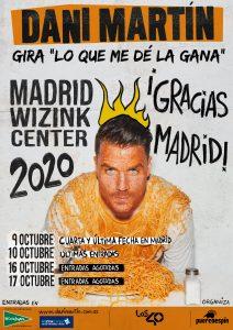 Dani Martín anuncia la CUARTA Y ÚLTIMA fecha para MADRID en la gira 'Lo que me dé la gana' 2020.