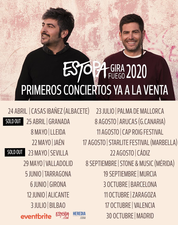 Gira Fuego 2020 de Estopa: ¡Todas las fechas!