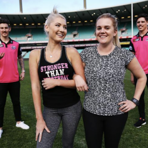 Gold Corporate Partners Sydney Sixers BBL cricket players Nick Maddinson (left) and Ben Dwarshius (right) with Jess Olson and Claire Munsie