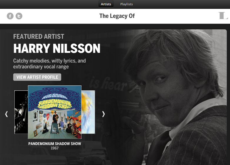 Harry Nilsson Featured In Spotify App 'The Legacy Of' By Legacy Recordings