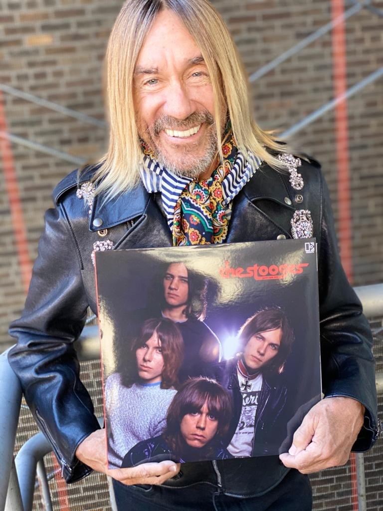 Iggy Pop holds The Stooges (John Cale Mixes) from Vinyl Me, Please