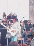 Jimi Hendrix at Woodstock with the white Fender Stratocaster