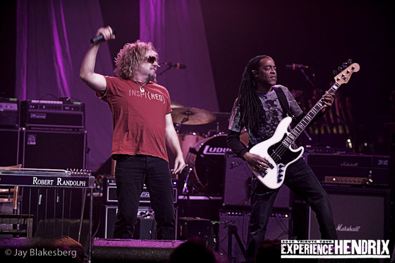 Sammy Hagar and Doug Wimbash of Living Color performing with Joe Satriani