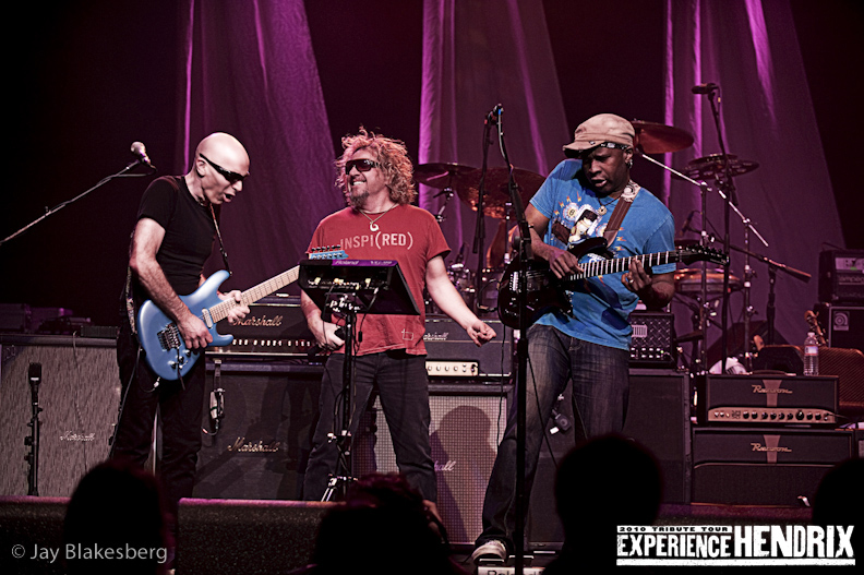 Joe Satriani with Vernon Ried of Living Colour and Sammy Hagar