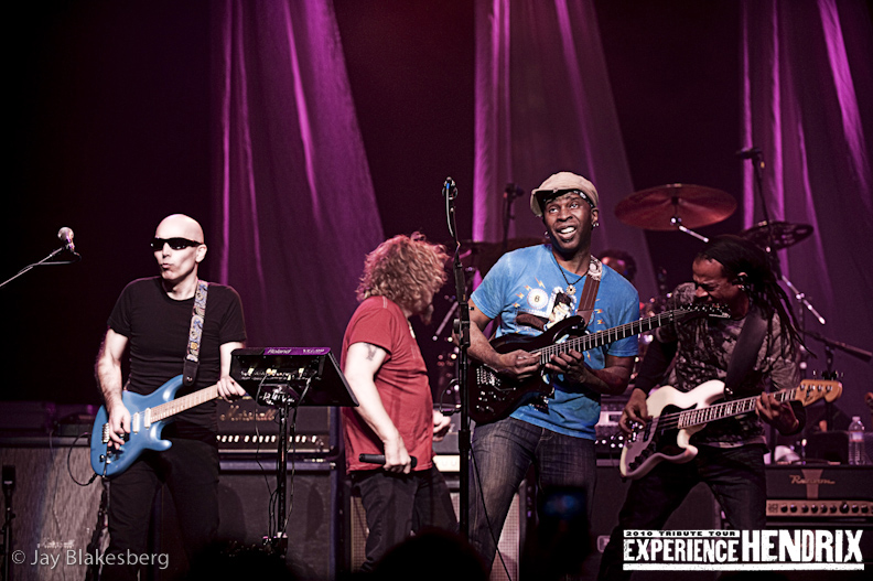 Joe Satriani with Vernon Ried and Doug Wimbash of Living Colour and Sammy Hagar
