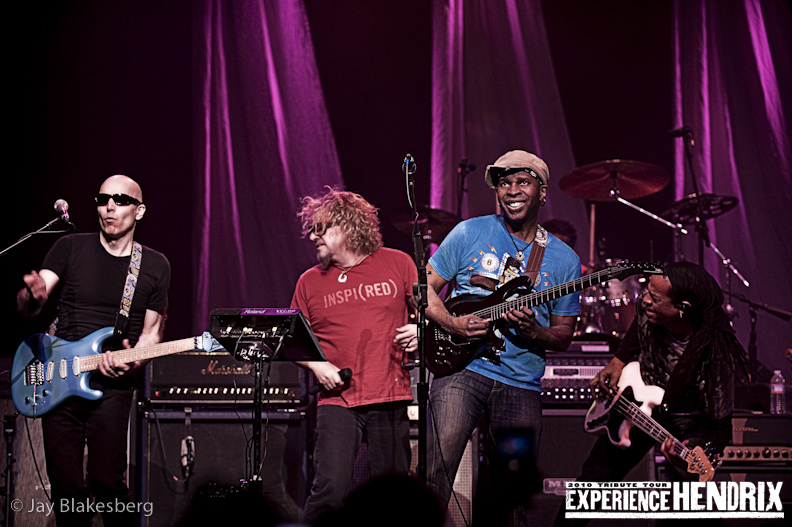 Joe Satriani with Vernon Ried and Doug Wimbash of Living Colour and Sammy Hagar