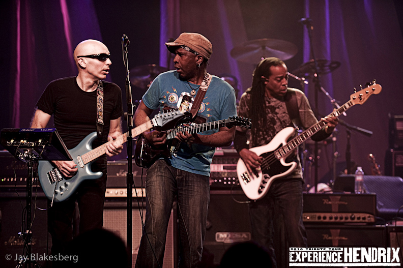 Joe Satriani with Vernon Ried and Doug Wimbash of Living Colour