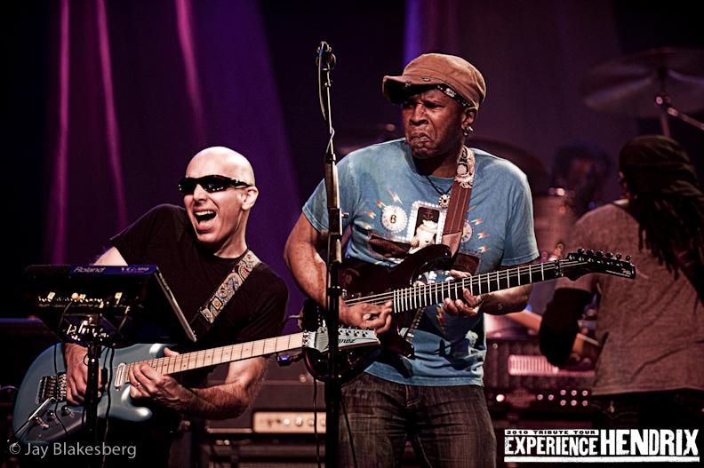 Joe Satriani with Vernon Ried and Doug Wimbash of Living Colour