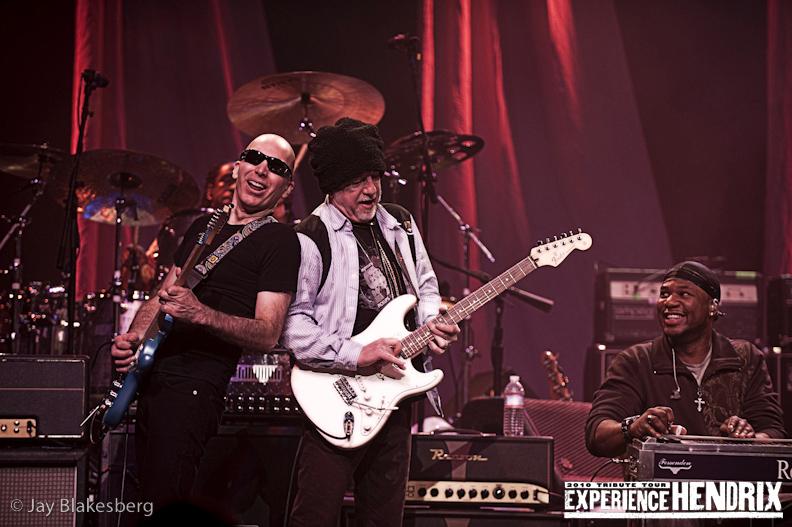 Joe Satriani with Brad Whitford of Aerosmith and Robert Randolph