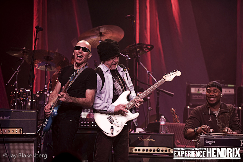 Joe Satriani with Brad Whitford of Aerosmith and Robert Randolph