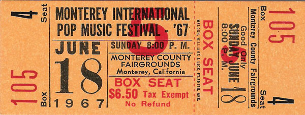 Monterey Pop Festival 1967 ticket