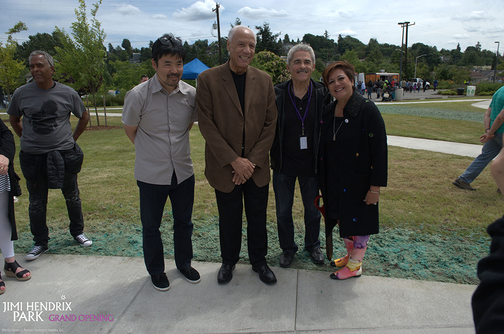 Scott Murase (Murase Associates), basketball legend Lenny Wilkens, Carver Gayton from Friends of Jimi Hendrix Park, and Janie L. Hendrix June 17, 2017