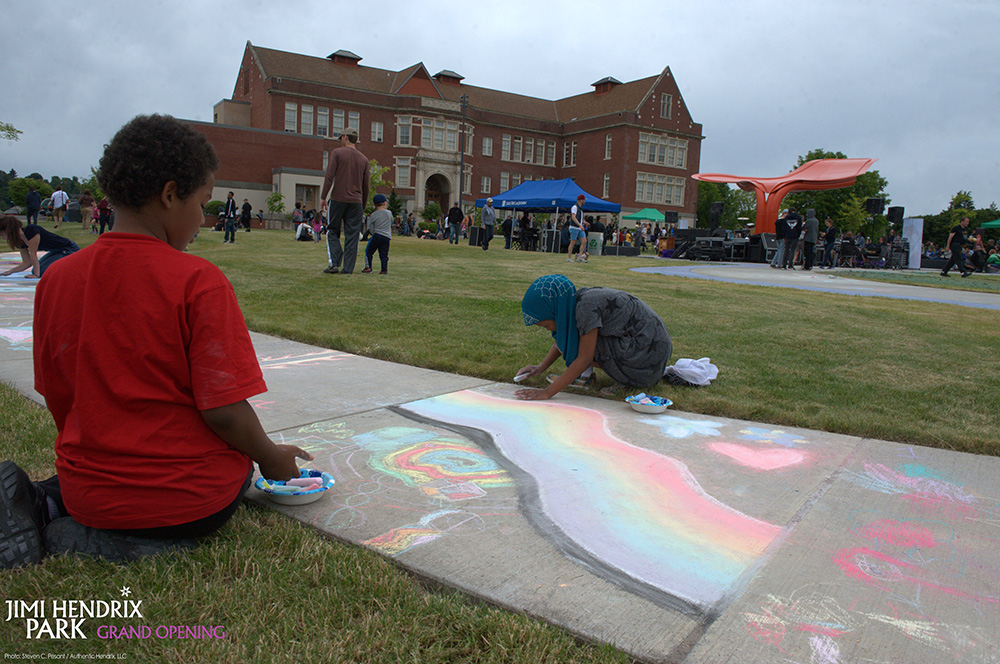 Sidewalk chalk art competition at grand opening of Jimi Hendrix Park June 17, 2017