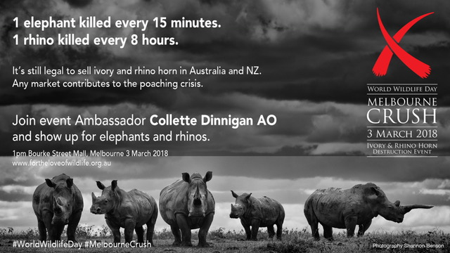 WORLD WILDLIFE DAY MELBOURNE CRUSH, 1pm BOURKE STREET MALL, 3rd OF MARCH