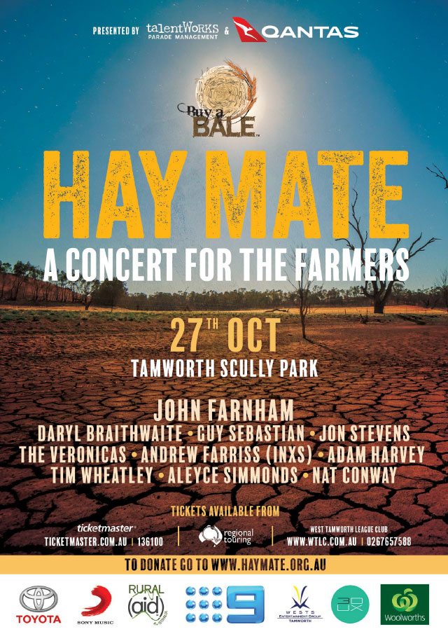Saturday 27th October at Tamworth Scully Park, John + special guests will perform Hay Mate: