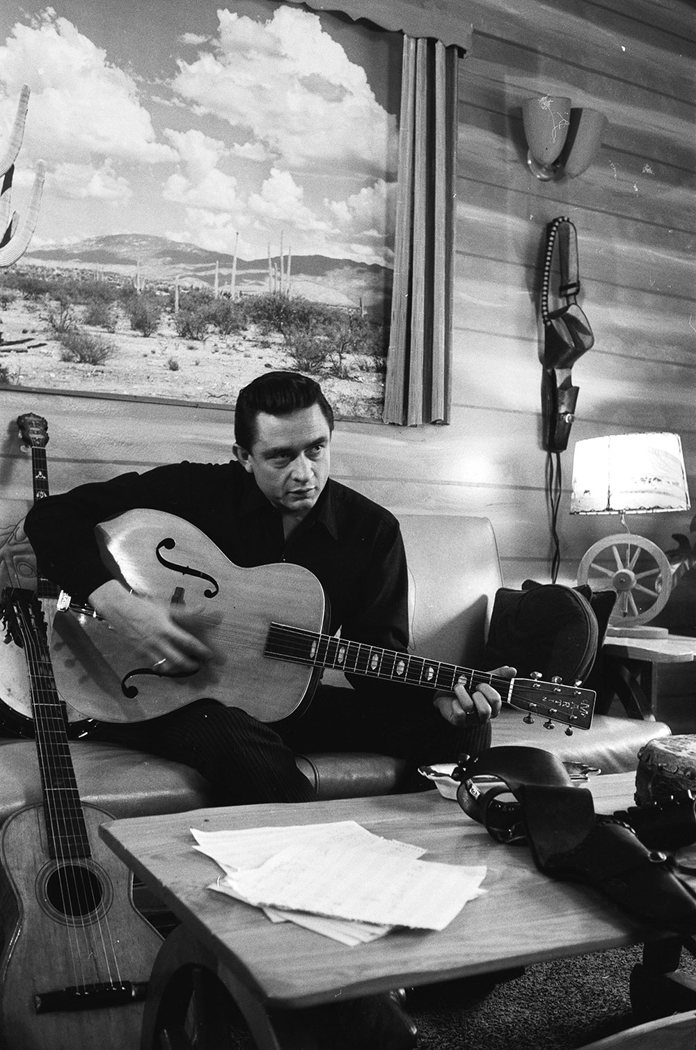 Johnny Cash at home with his family in California in January 1960
