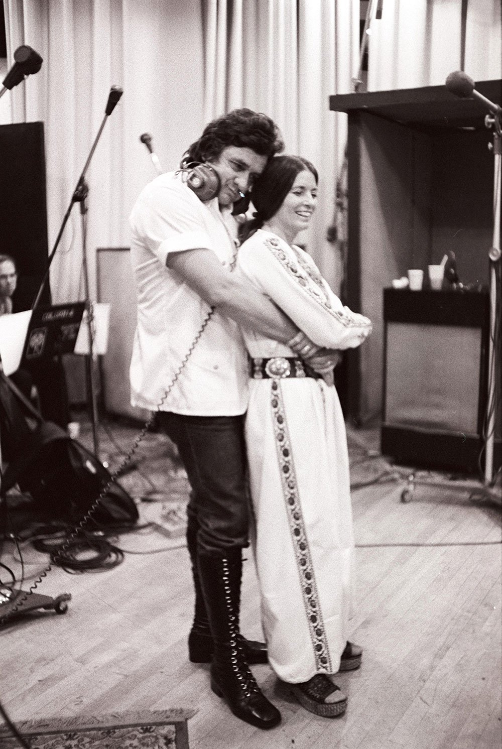 Johnny Cash and June Carter Cash at the Columbia Records 30th Street Studios in New York, NY, in July 1975