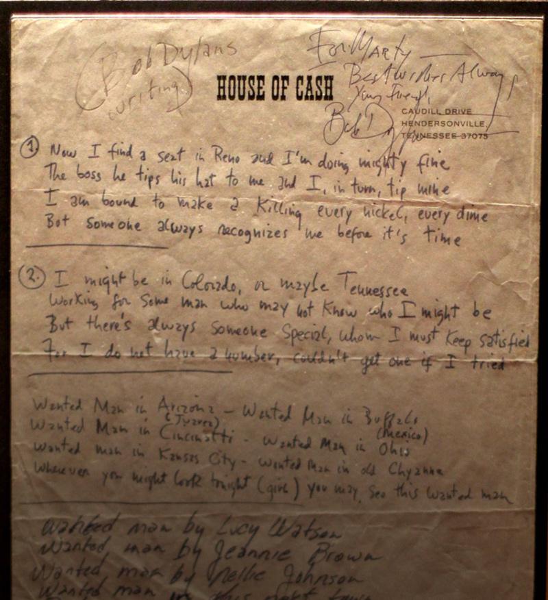 Wanted Man handwritten lyrics