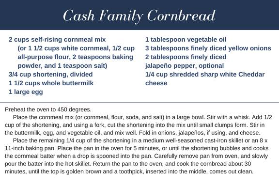 Cash Family Cornbread recipe