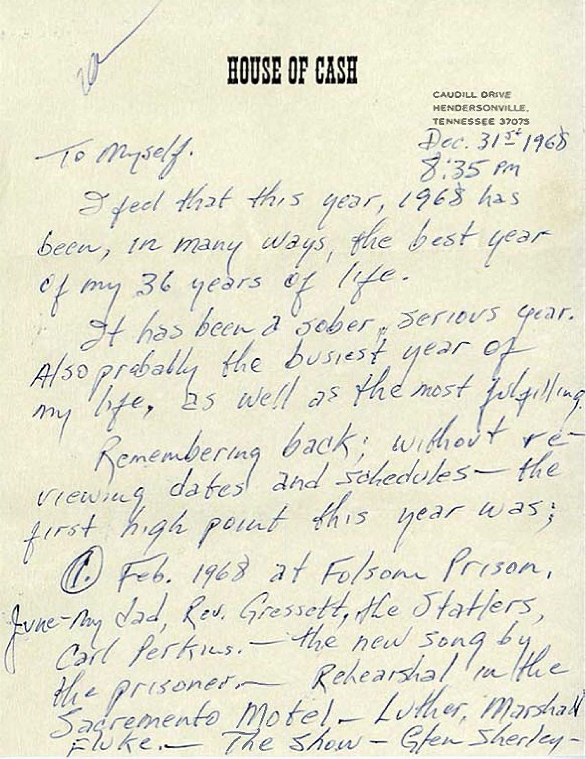 Johnny Cash letter written to himself December 31, 1968 Page 1