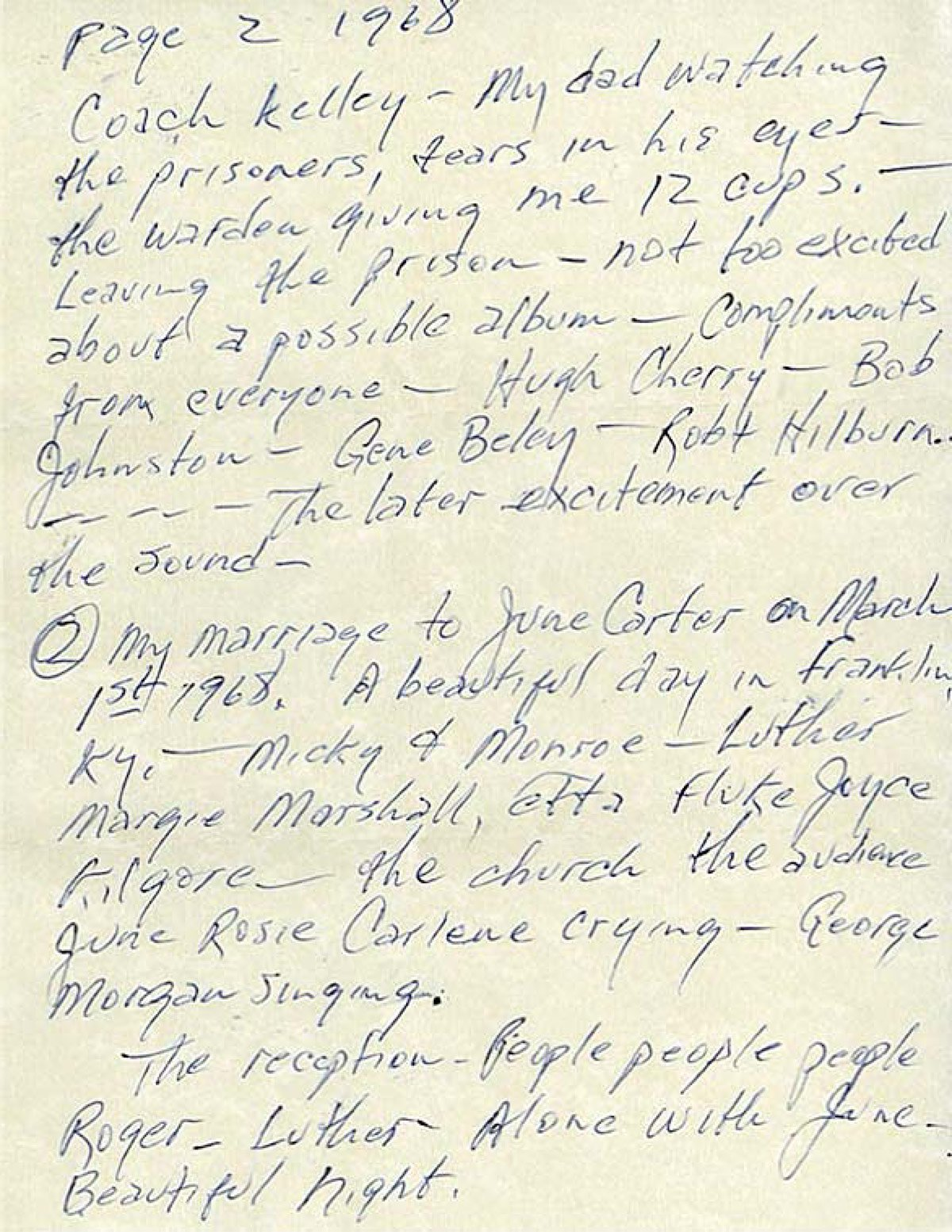 Johnny Cash letter written to himself December 31, 1968 Page 2