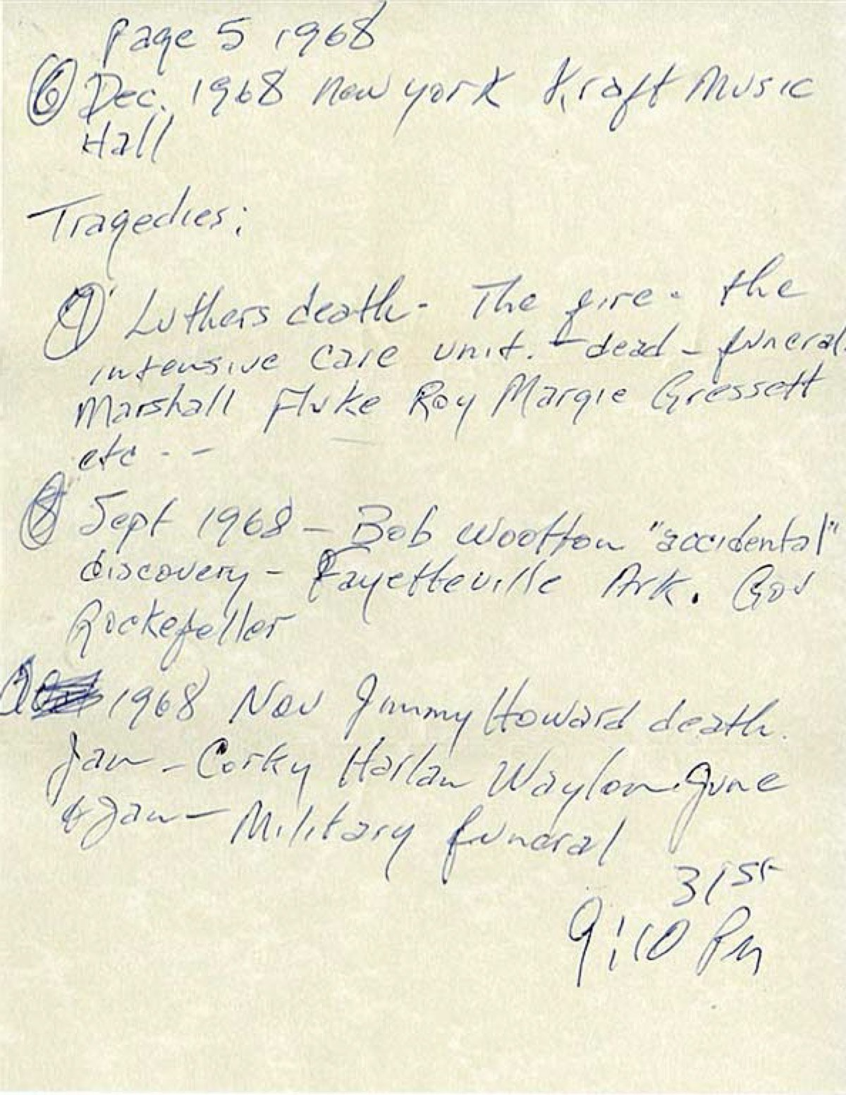 Johnny Cash letter written to himself December 31, 1968 Page 5