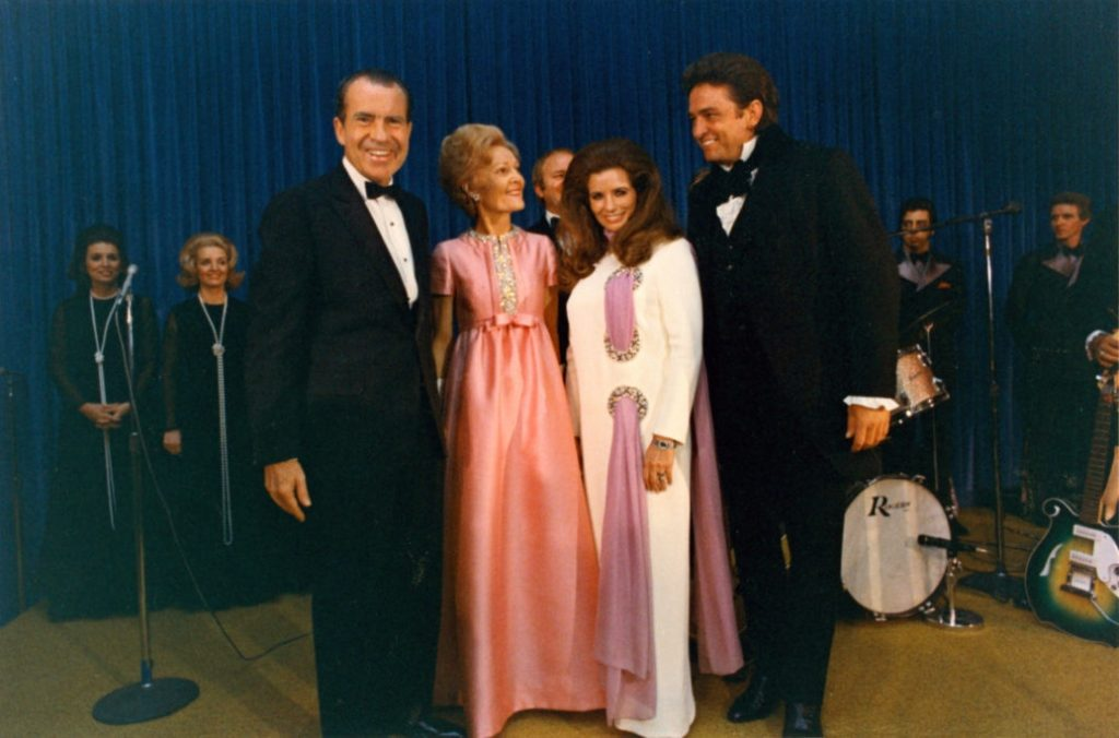 President Richard Nixon, First Lady Patricia Nixon, June Carter Cash, Johnny Cash on stage after Evening at the White House concert performance April 17, 1970