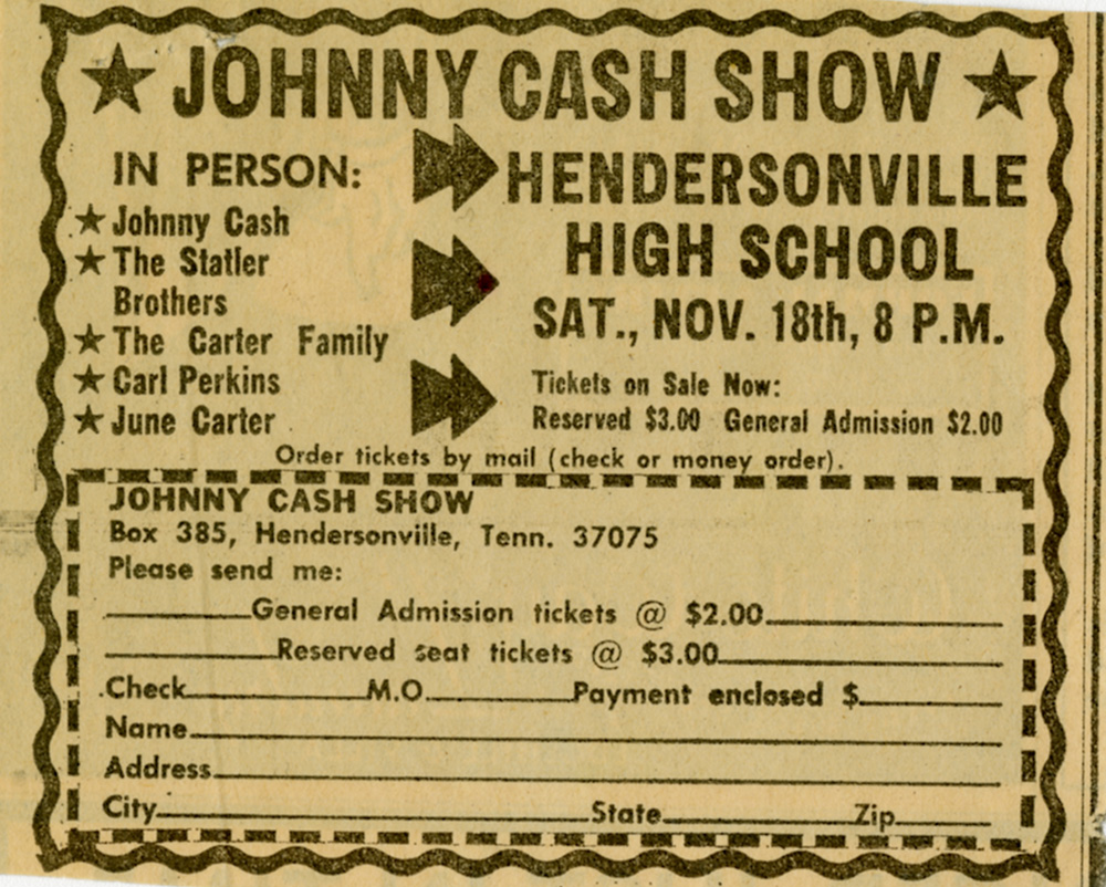 Ticket Order Form For 'The Johnny Cash Show' In November 1970
