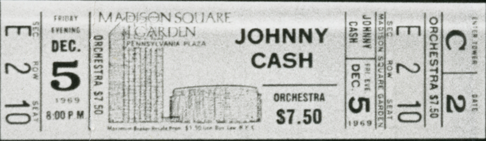 Johnny Cash Madison Square Garden Concert Ticket December 1969