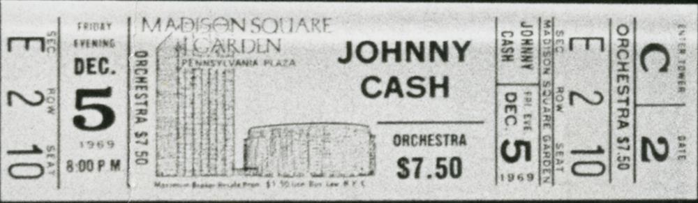 Johnny Cash Madison Square Garden Concert Ticket December 1969