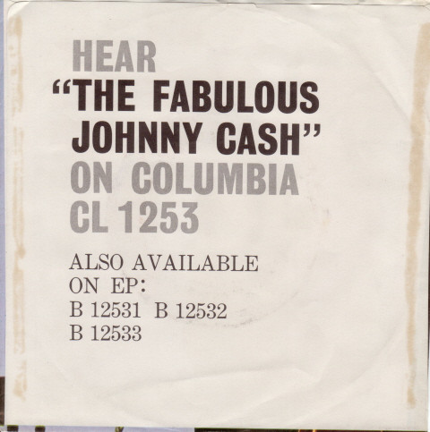 Jphnny Cash - Don't Take Your Guns To Town single back cover