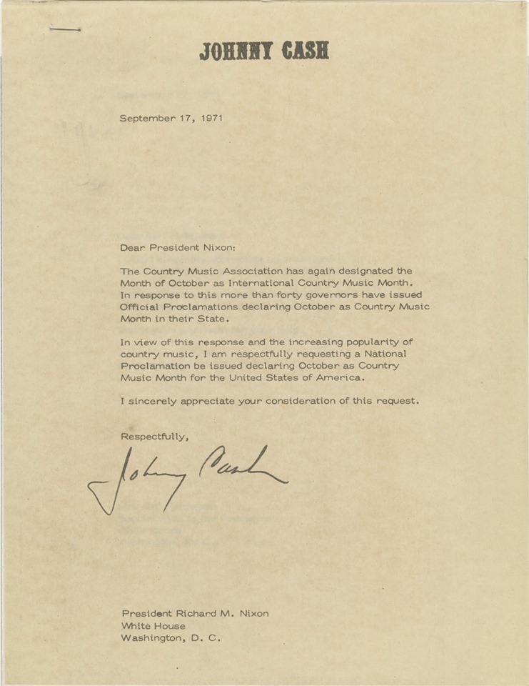 Johnny Cash 1971 letter to President Nixon for Country Music Month
