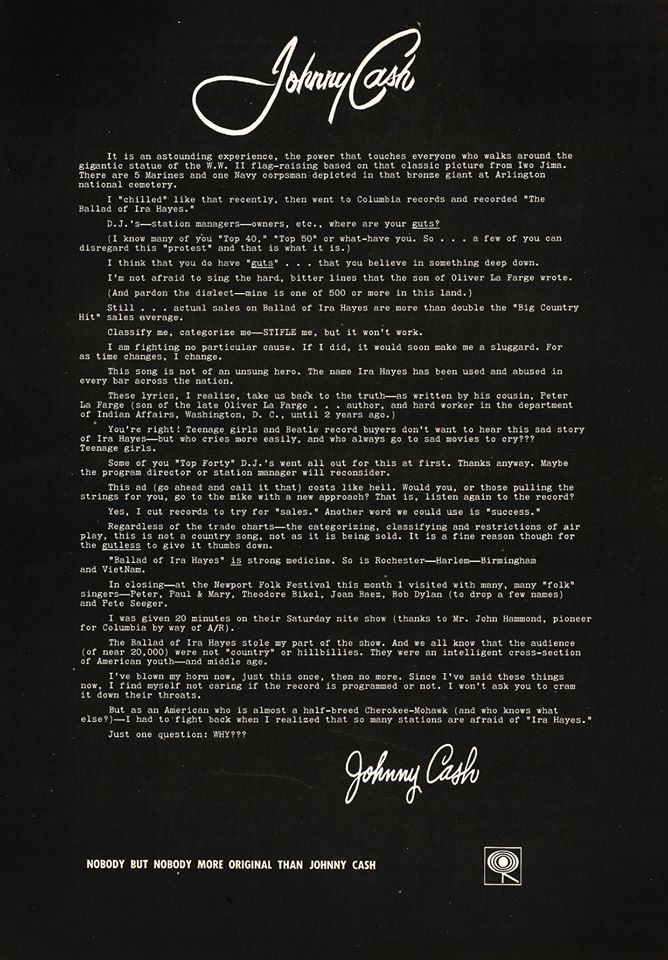 Johnny Cash - The Ballad Of Ira Hayes open letter