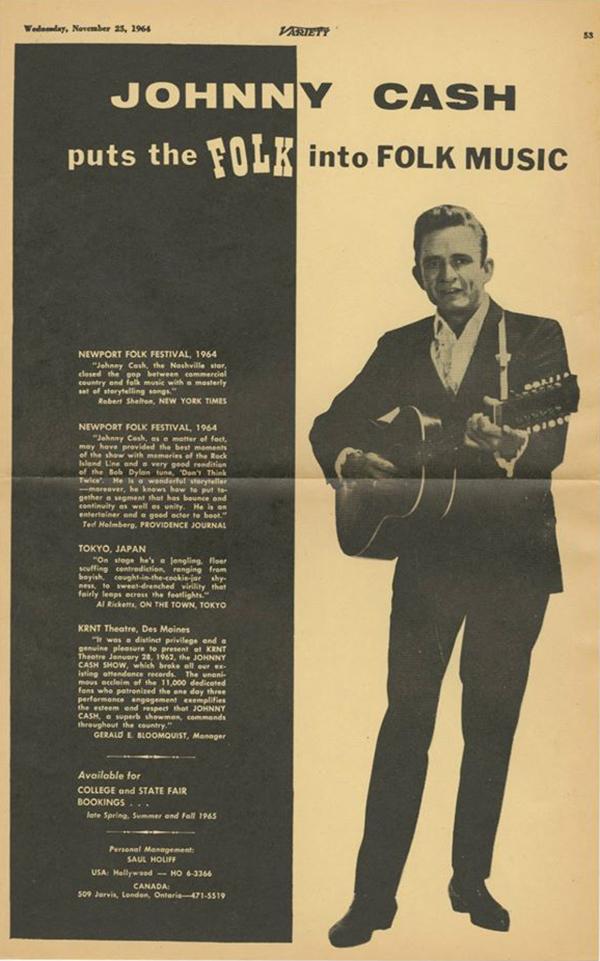 Jphnny Cash Puts The Folk Into Folk Music advertisement November 23, 1964