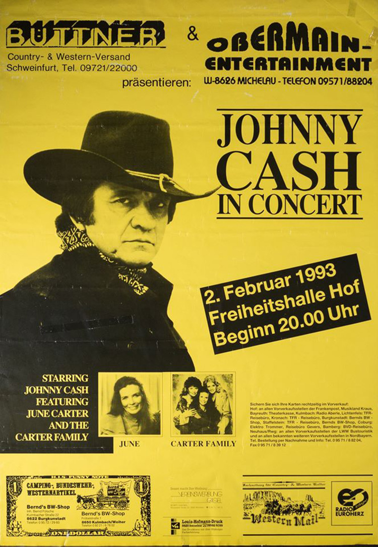 Johnny Cash in Hof, Germany concert poster February 2, 1993