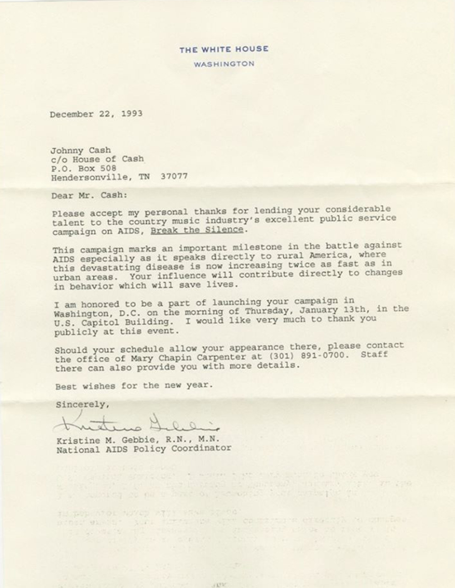 Johnny Cash December 22, 1993 letter from White House for Break The Silence campaign on AIDS