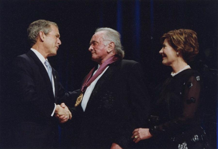 Johnny Cash awarded National Medal of Arts April 22, 2002