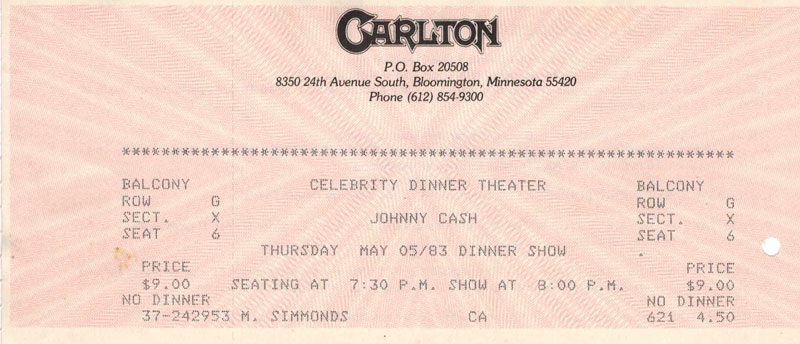 Ticket stub from Johnny Cash show May 5, 1983 at Carlton Celebrity Theater in Minneapolis, MN