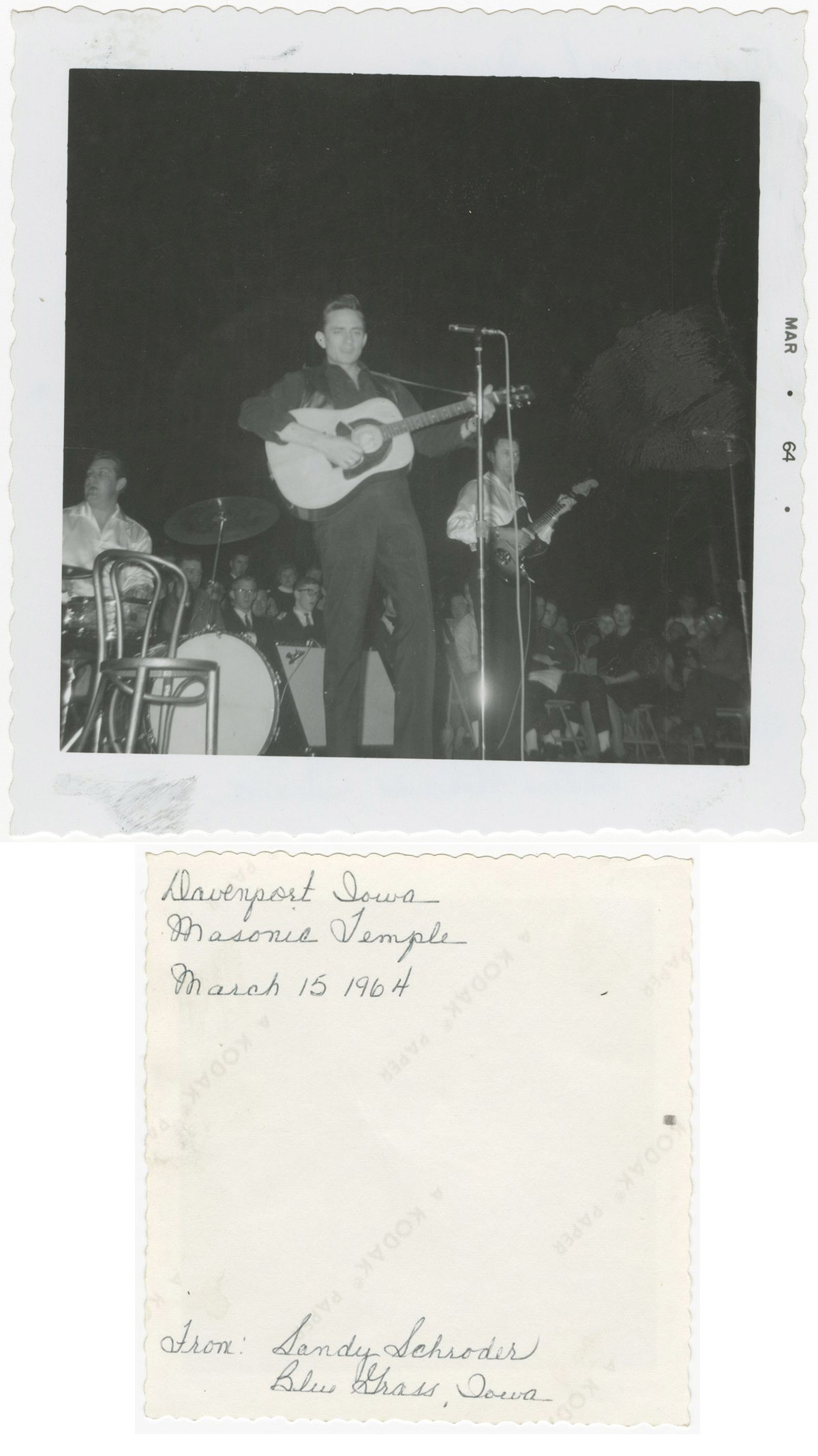 Johnny Cash performs at Masonic Temple in Davenport, Iowa on March 15, 1964