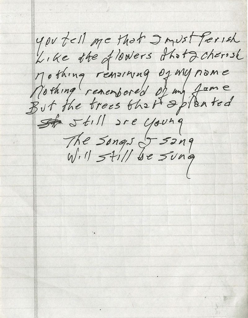 Johnny Cash Forever handwritten lyrics sheet