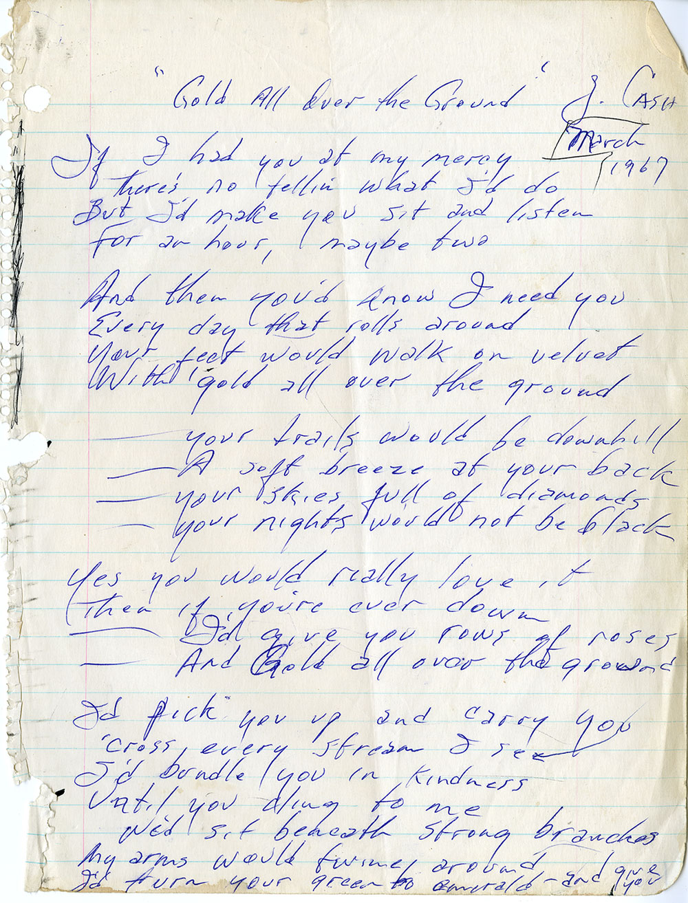 Johnny Cash Gold All Over The Ground handwritten poem