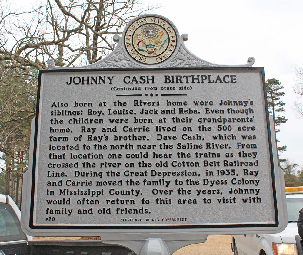 Johnny Cash birthplace marker in Kingsland, Arkansas