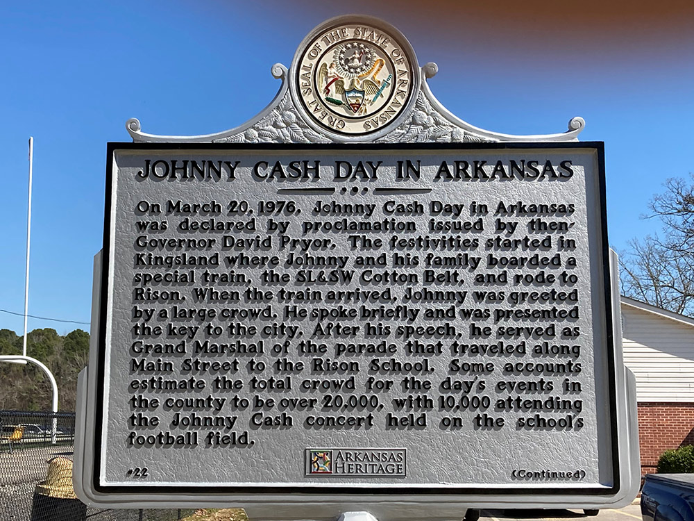 Johnny Cash Day in Arkansas marker