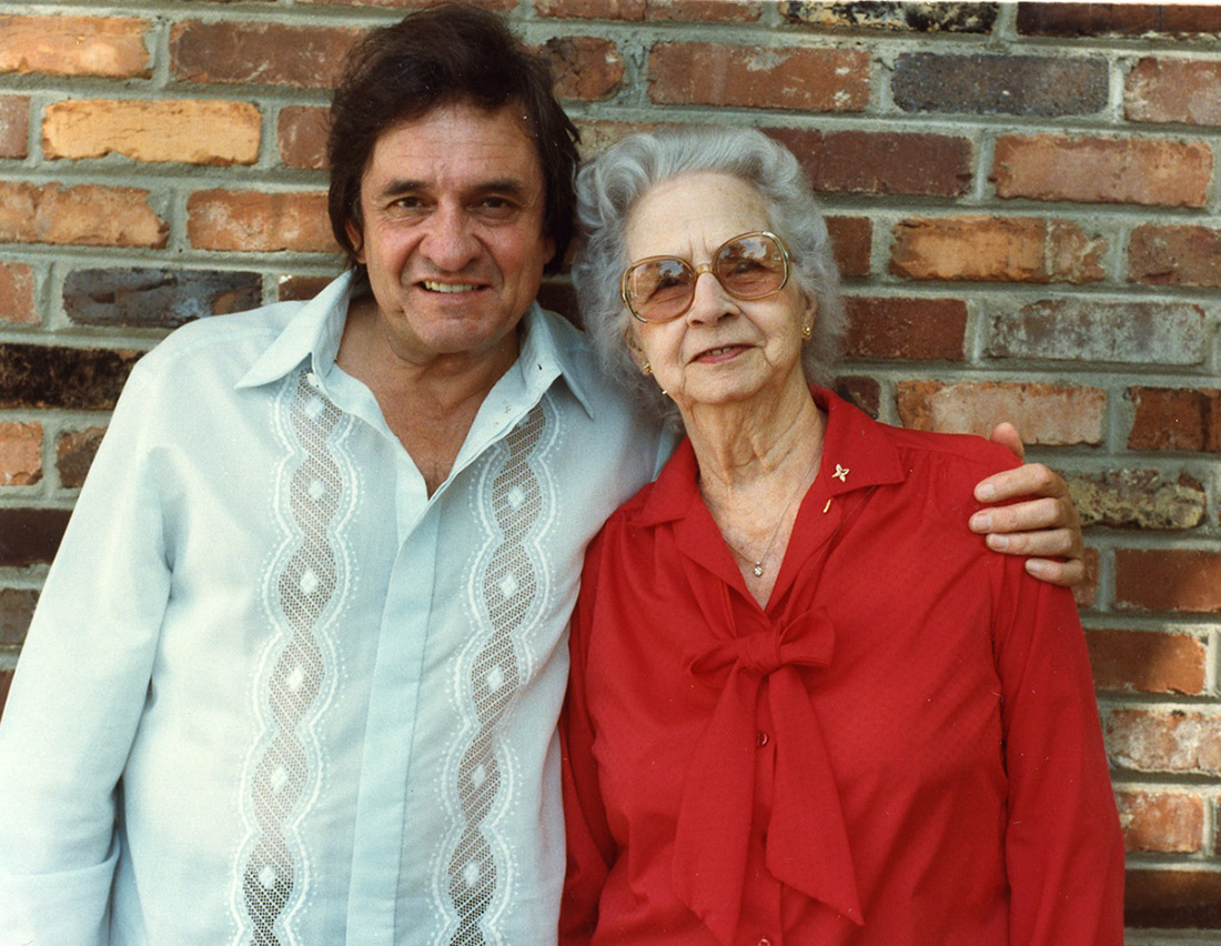 Johnny Cash and his mother Carrie Cloveree Cash