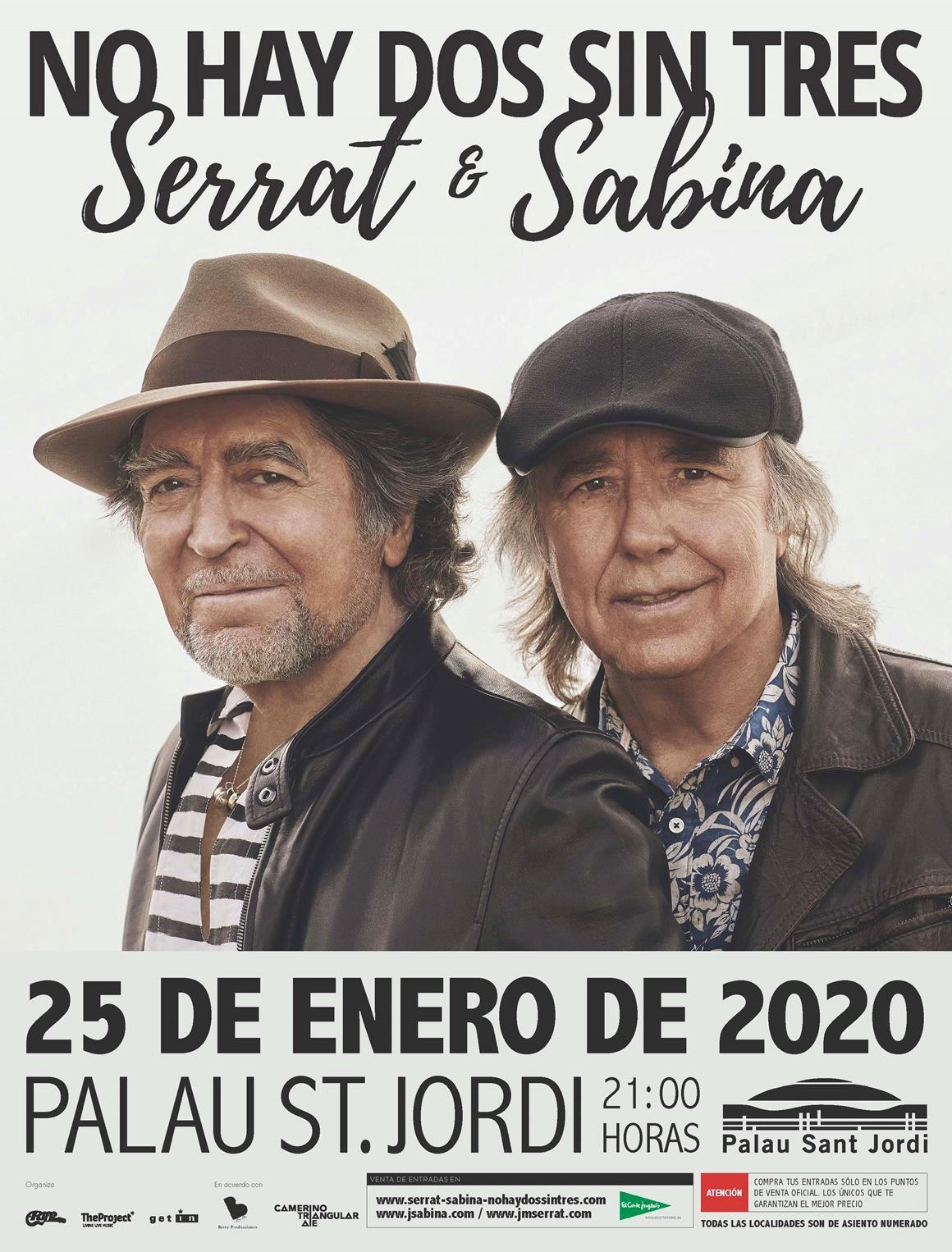"""Serrat y Sabina llevan su gira """"No hay dos sin tres"""" a Barcelona el 25 de enero"""