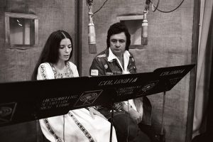 June Carter Cash and Johnny Cash at the Columbia Records 30th Street Studios in New York, NY, in July 1975