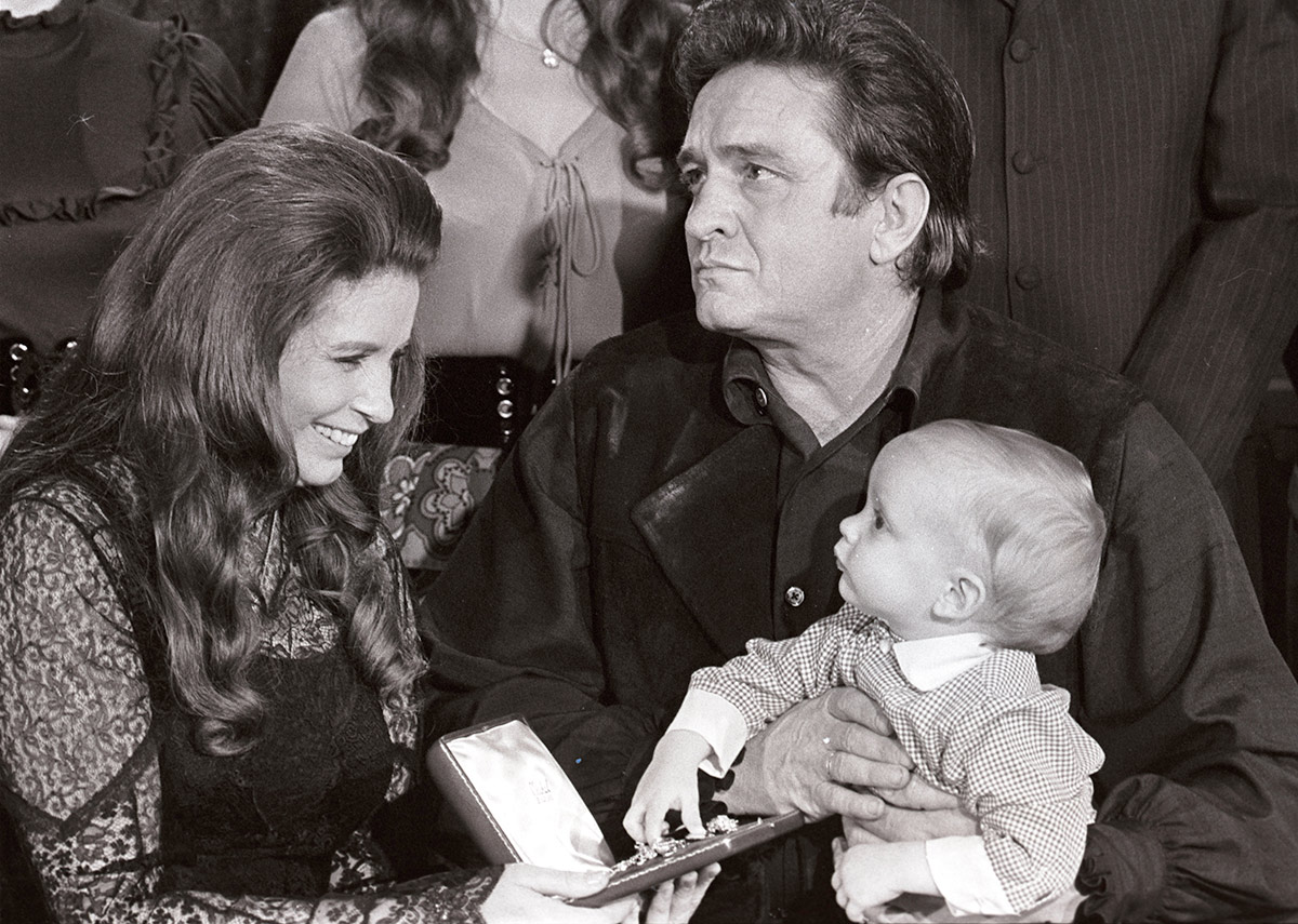 June Carter Cash, Johnny Cash, and their son, John Carter, on a 1971 episode of 'This Is Your Life'